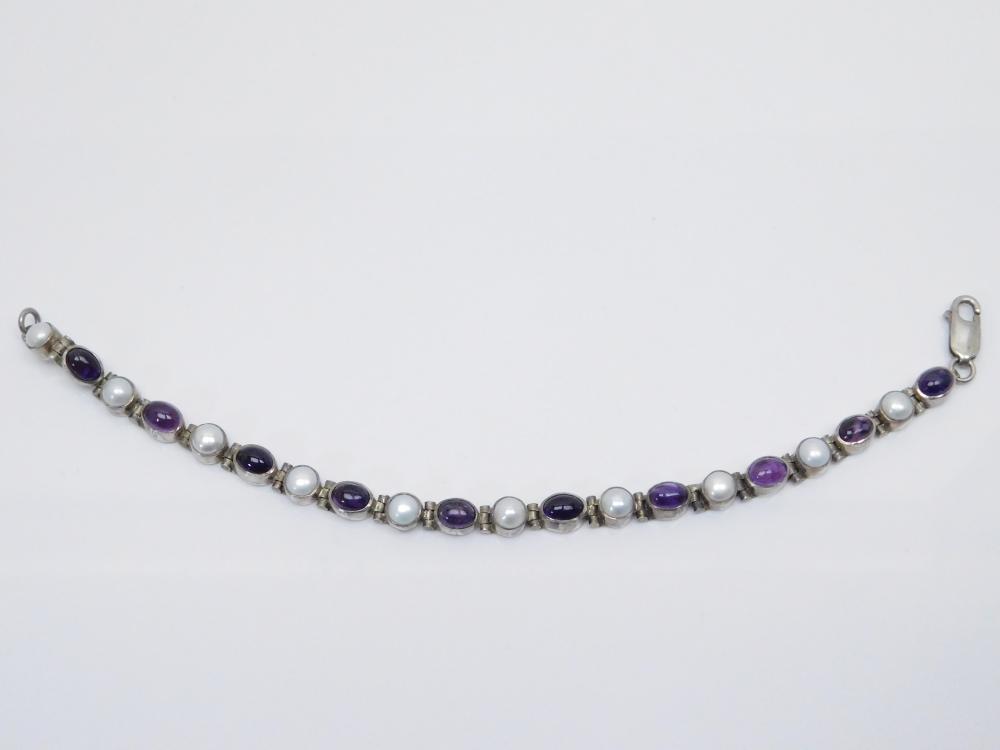 Vintage Sterling Silver Amethyst Pearl Round & Oval Link Bracelet 18G