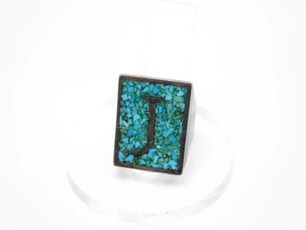 Vintage Native American Custom Sterling Silver Inlaid Chip Turquoise Initial J Mens Ring 13G Sz11