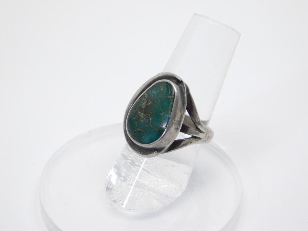 Vintage Native American Navajo Sterling Silver Turquoise Ring 7.8G Sz6.5