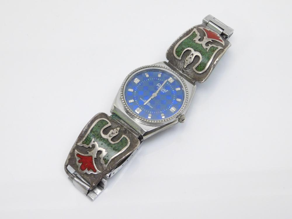 Vintage  Native American Sterling Silver Inlaid Turquoise Coral Peyote Bird Watch Tips Mens Watch 63G