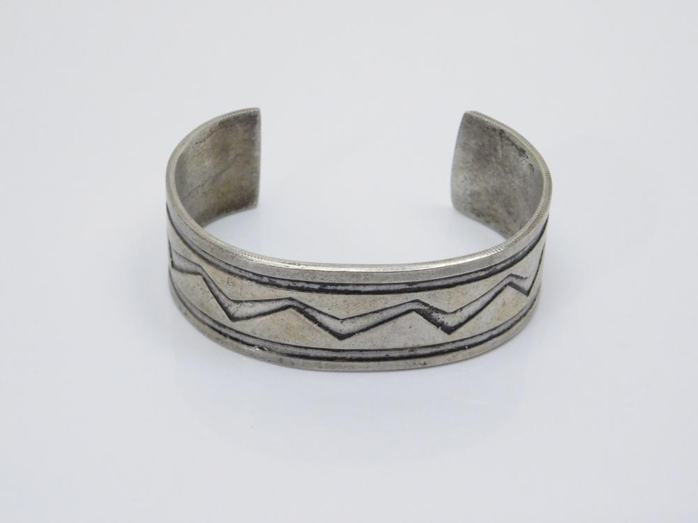 Vintage Native American Sterling Silver Cast Cuff Bracelet 49G