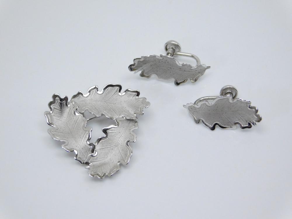 Vintage Rolyn R Inc Sterling Silver Oak Leaf Brooch & Screwback Earrings 6.6G