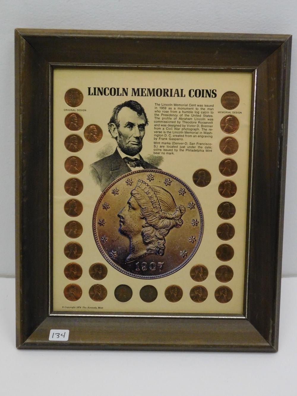 1974 The Kennedy Mint Lincoln Memorial Coins Framed Cent Penny Coin Set