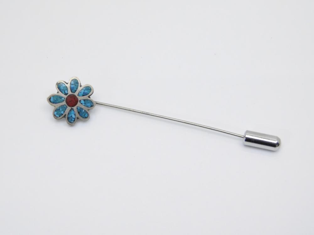 Vintage Native American Sterling Silver Inlaid Chip Turquoise Coral Flower Stick Pin 2.2G