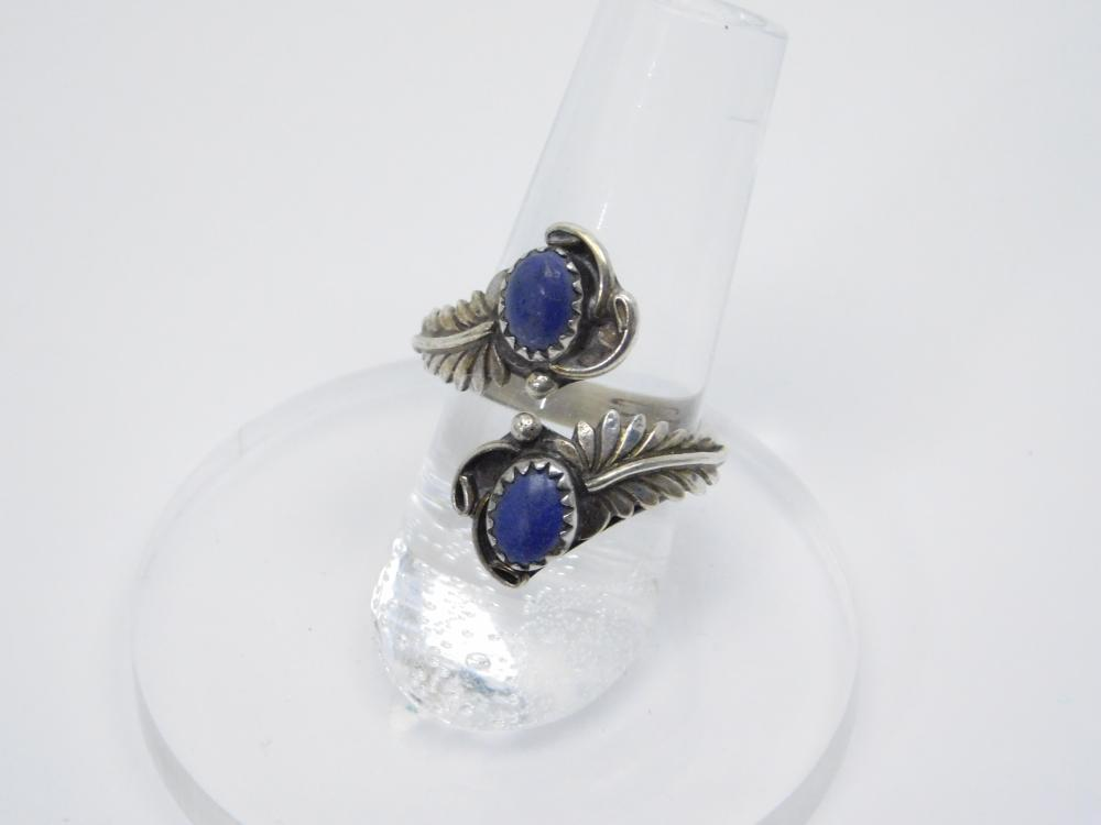 Vintage Native American Sterling Silver Lapis Leaf Bypass Ring 5G Sz7