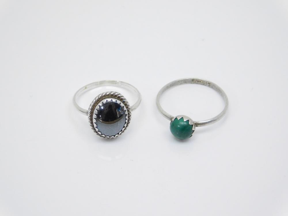 2 Sterling Silver Black Onyx & Malachite Rings 3.2G Sz6&6.75