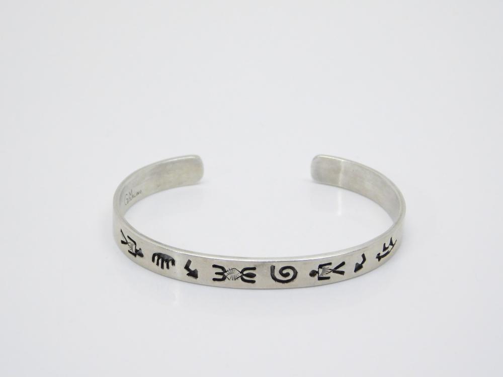 Vintage Native American Sterling Silver Petroglyph Cuff Bracelet 13G