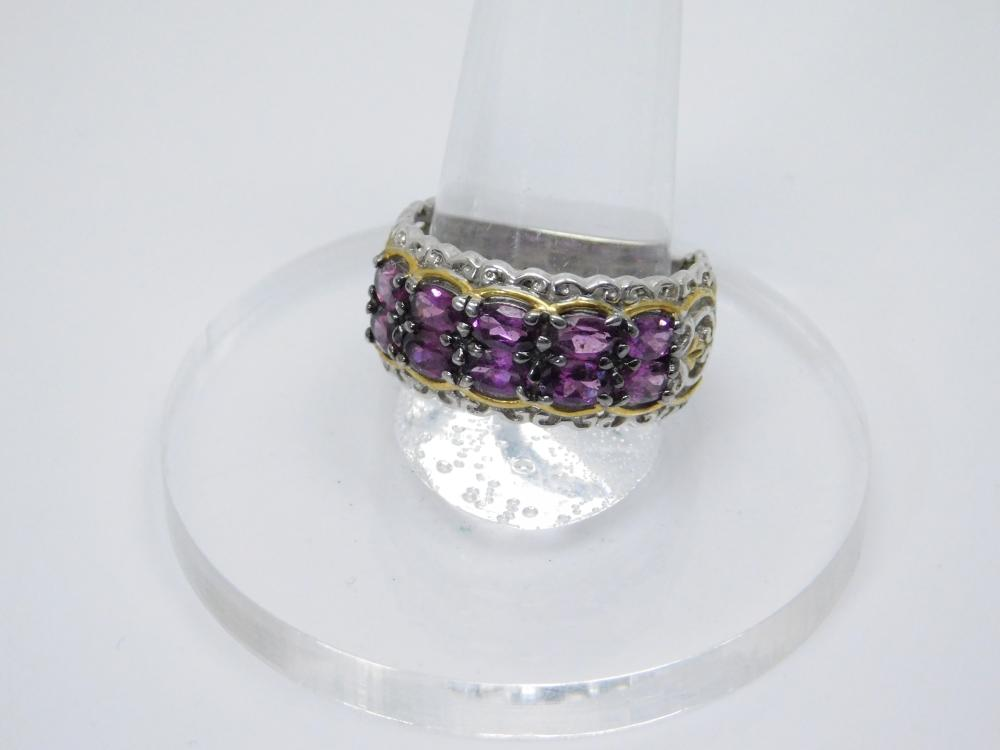 Sterling Silver Gold Accent Amethyst Cluster Fashion Ring 6.4G Sz10