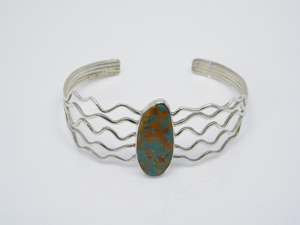 Vintage Native American Navajo Sterling Silver Turquoise Multi Wire Cuff Bracelet 12.5G