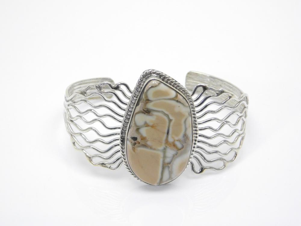 Vintage Native American Navajo Sterling Silver Petrified Wood? Agate? Jasper? Cuff Bracelet 27.6G