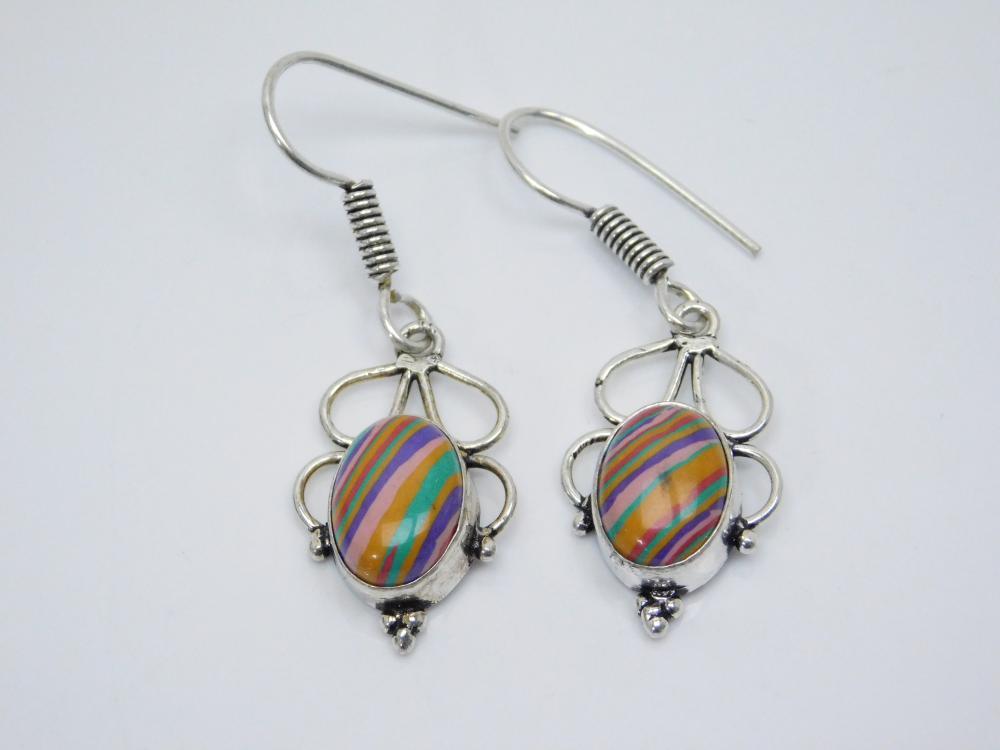 Southwestern Silverplated Rainbow Stone Dangle Earrings 6.8G