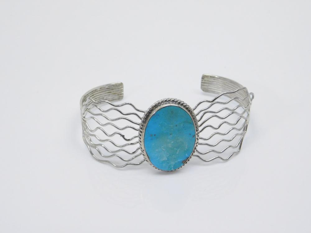 Vintage Native American Navajo Sterling Silver Turquoise Multi Wire Cuff Bracelet 16G