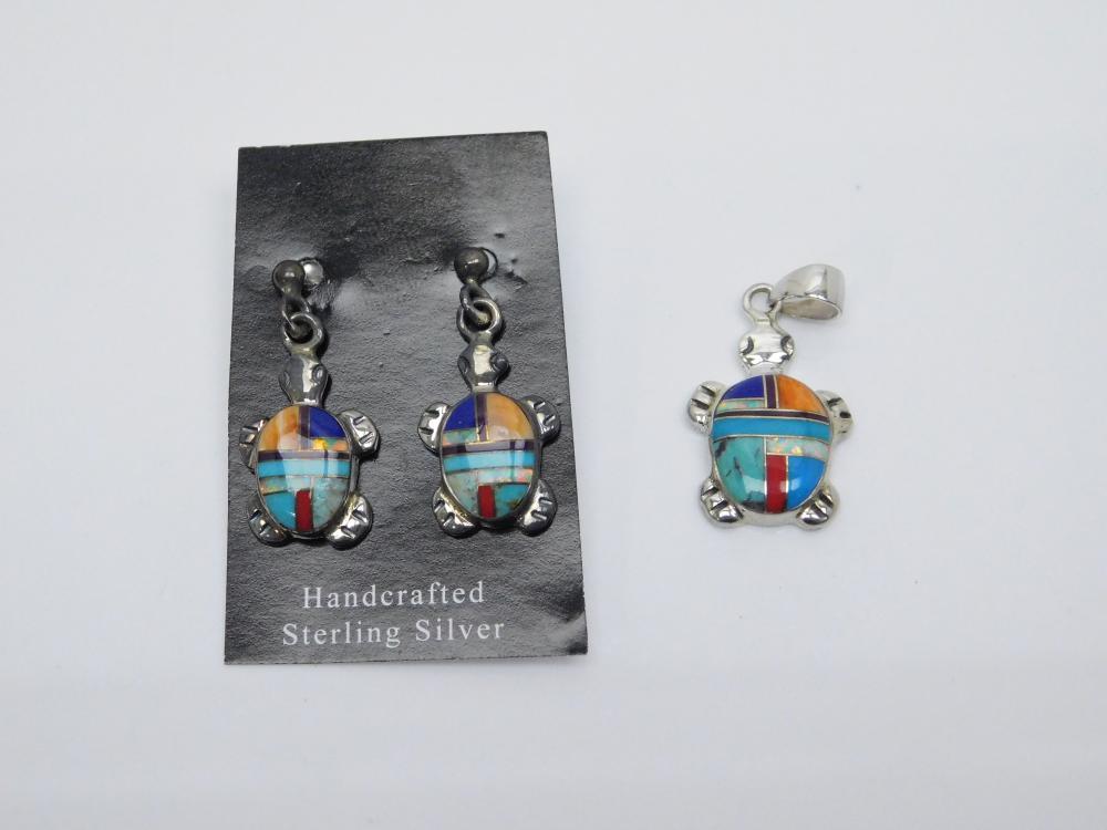 Native American Zuni Sterling Silver Inlaid Multistone Turtle Pendant & Earrings 5.7G