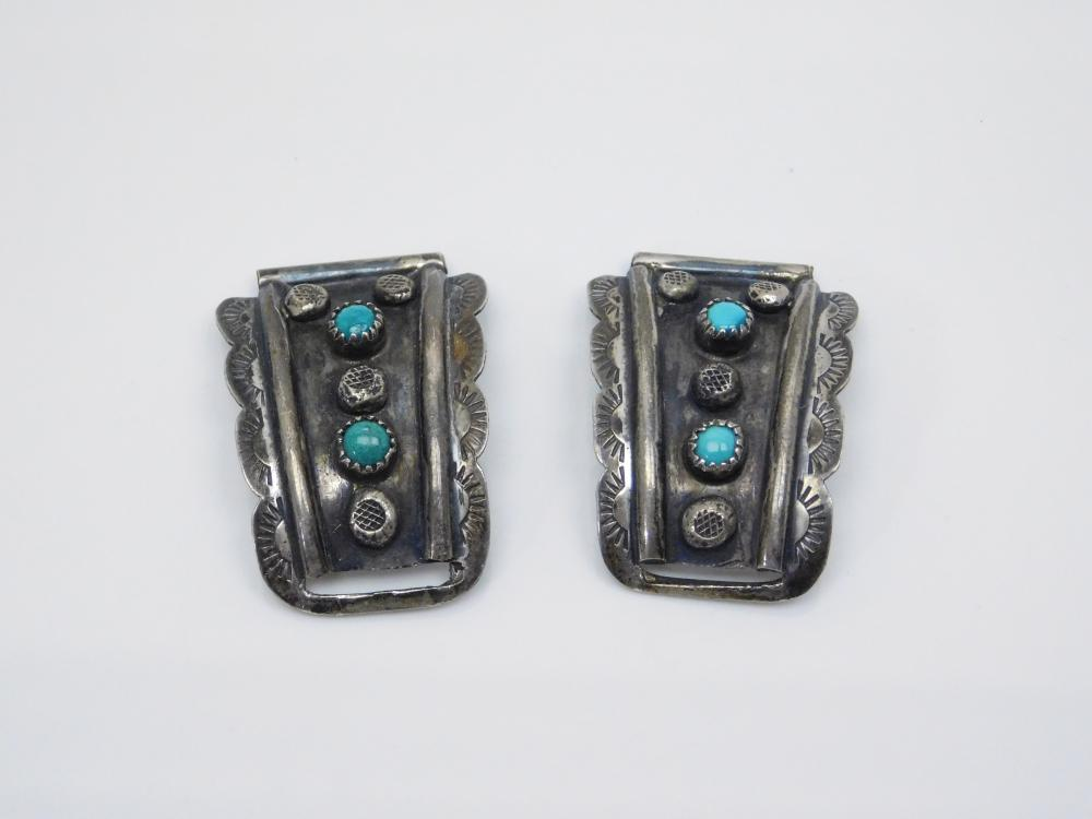Vintage Native American Navajo F Ashley Sterling Silver Turquoise Mens Watch Tips 19.8G
