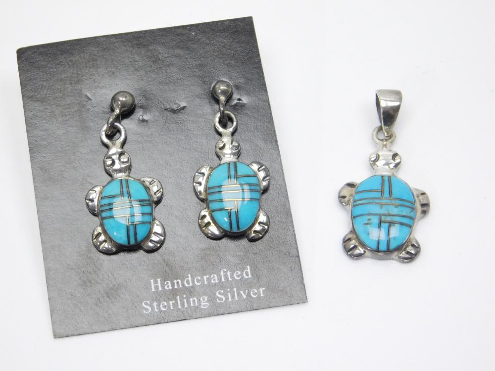 Native American Sterling Silver Inlaid Turquoise Turtle Pendant & Earrings Set 5.9G