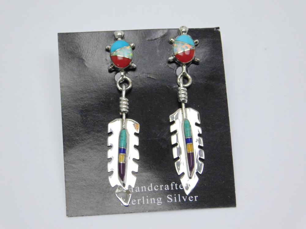 Native American Zuni Sterling Silver Inlaid Multistone Turtle Feather Dangle Earrings 2.7G