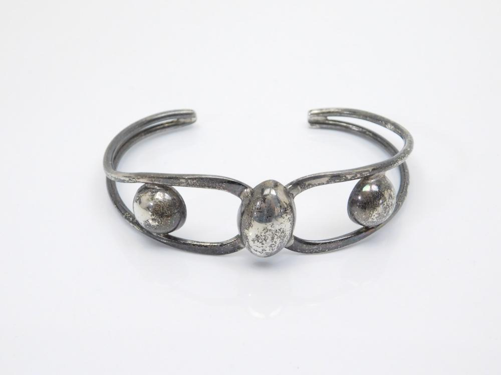 Vintage Mexico Sterling Silver Art Deco Ball Bead Cuff Bracelet 18.4G