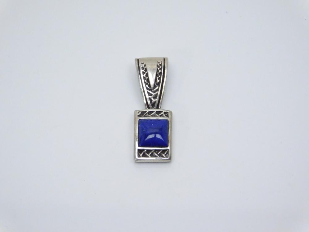 Native American Sterling Silver Inlaid Lapis Pendant 5.3G
