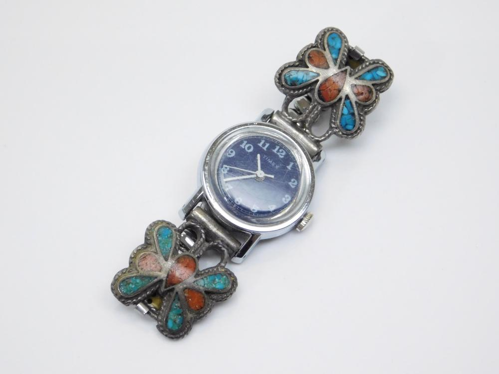 Vintage Native American Sterling Silver Chip Turquoise Coral Inlaid Butterfly Watch Tips 34G