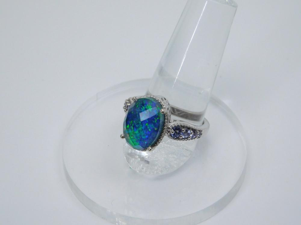 Very Nice Sterling  Silver Lab Opal Faceted Doublet Fashion Cocktail Ring 6G Sz8
