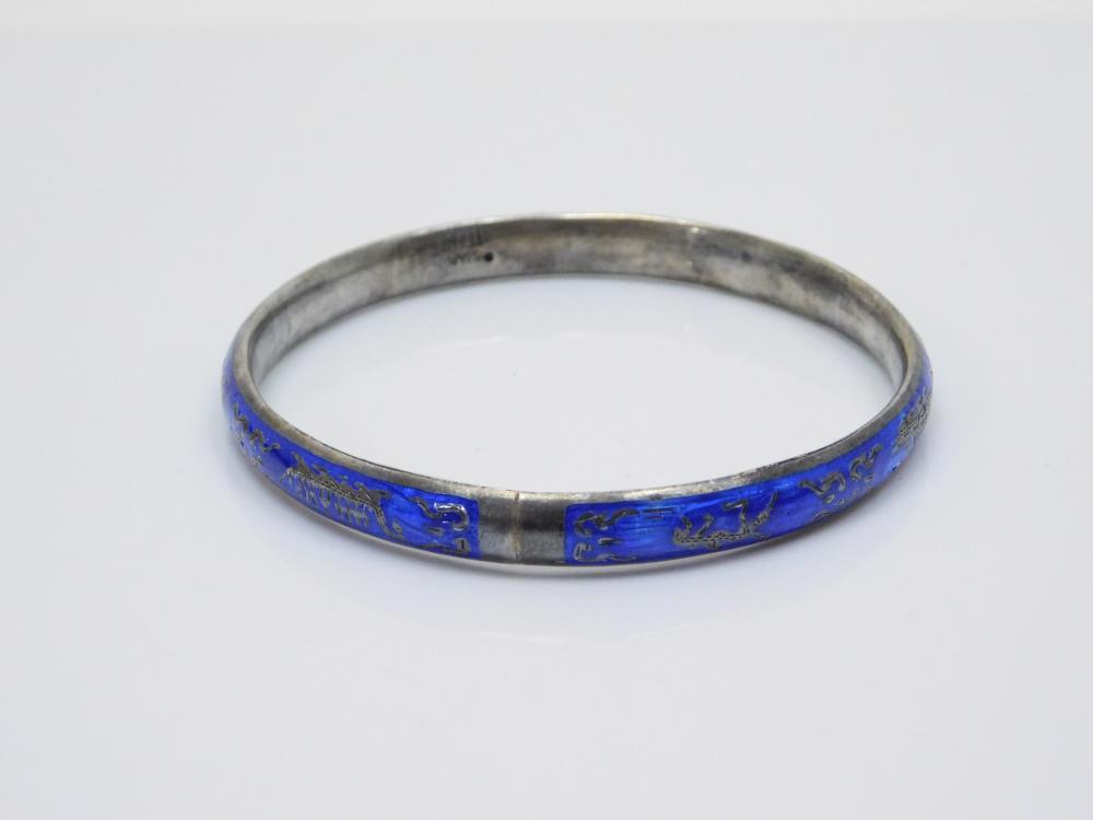 Vintage Siam Sterling Silver Cobalt Blue Enamel Bangle Bracelet 12.3G