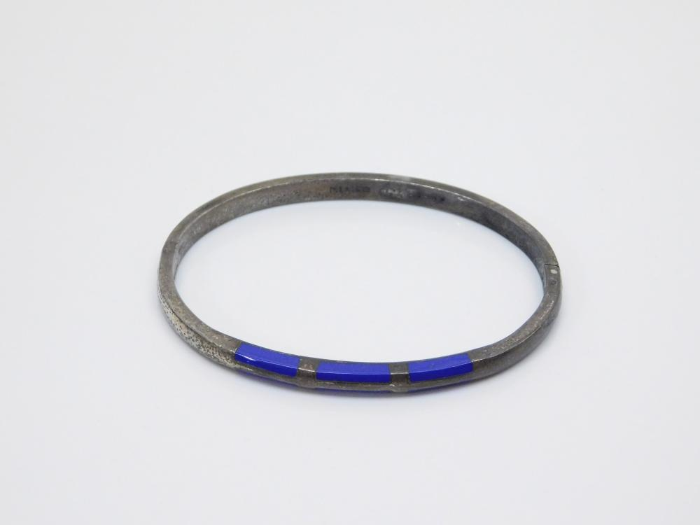 Vintage Taxco  Mexico Sterling Silver Inlaid Blue Stone Clamp Bangle Bracelet 23.5G