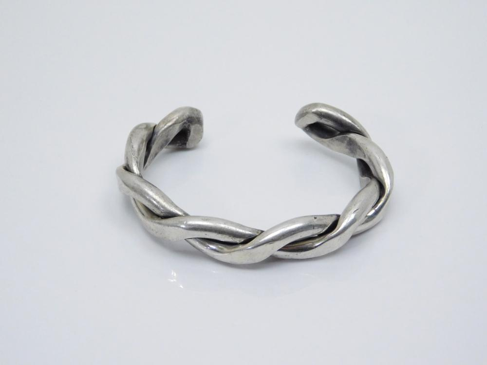Vintage  Native American Sterling Silver Heavy Twisted Cuff Bracelet 62G