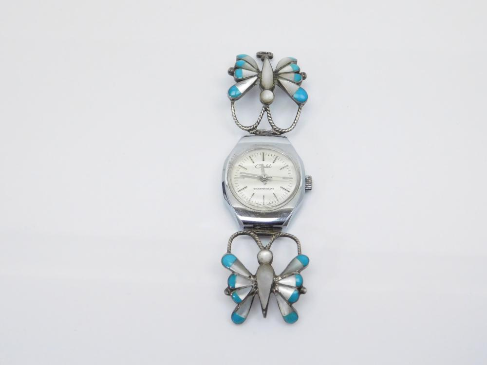 Vintage Native American Sterling Silver Turquoise Mop Butterfly Watch Tips For Repair 35G