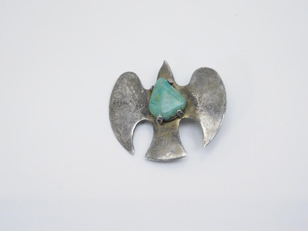 Vintage Sterling Silver Turquoise Bird In Flight Pendant 10G