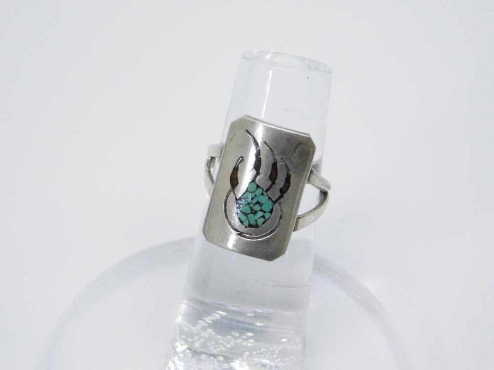 Vintage  Native American Sterling Silver Inlaid Chip Turquoise Bear Claw Ring 4G Sz4.75
