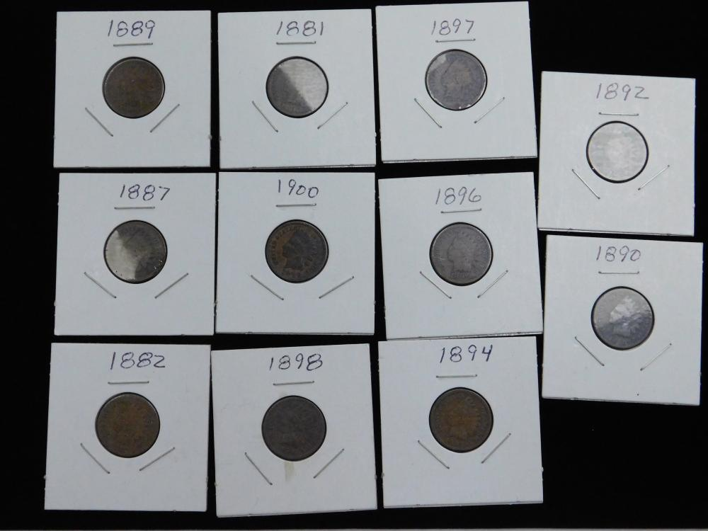 Lot Of 11 Us Mint Indian Head Cents 1881 82 87 89 90 92 94 96 97 98 1900