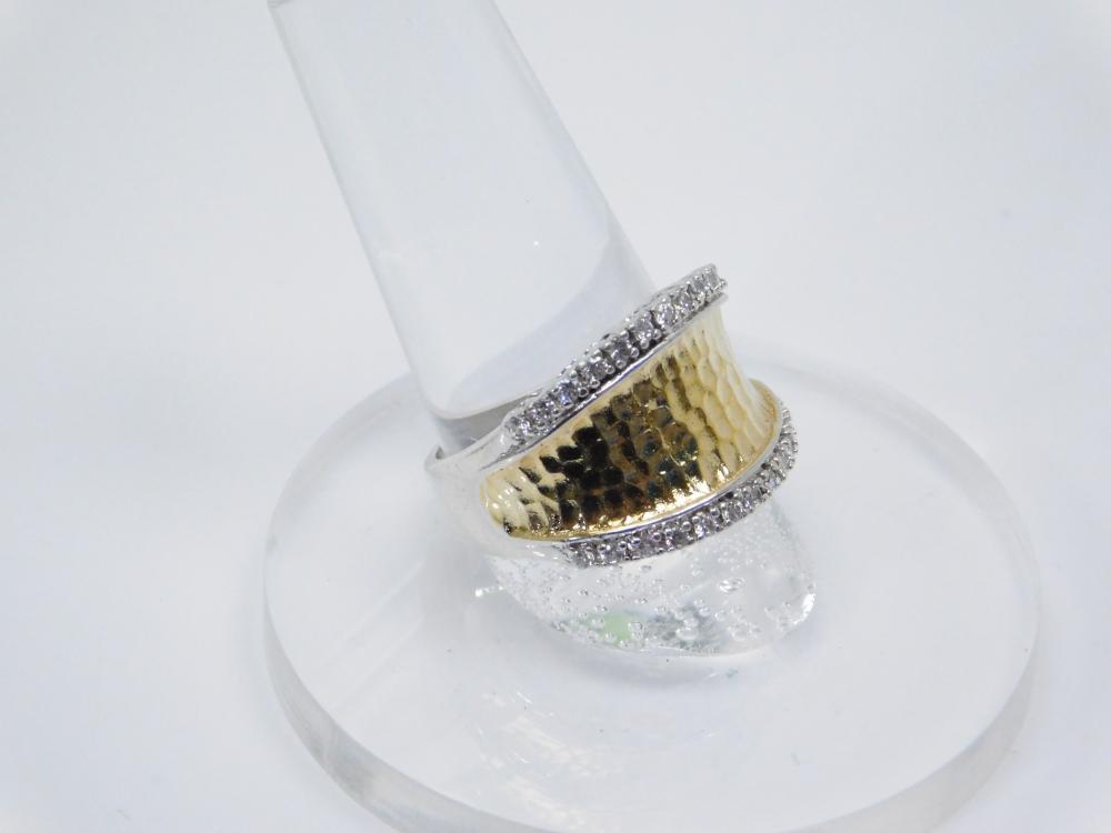 Espo Sterling Silver Goldtone Brilliant Cz Fashion Rings 6.8G Sz8