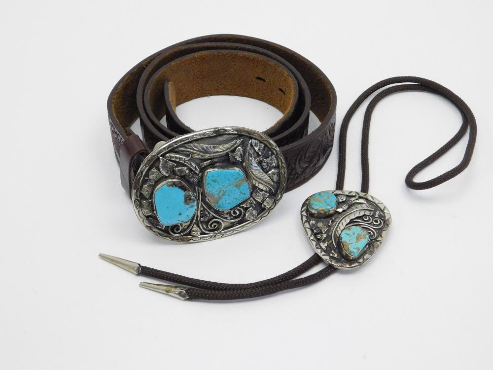 Vintage Native American Or Mexico Nickel Silver Turquoise Belt Buckle & Bolo Tie Set