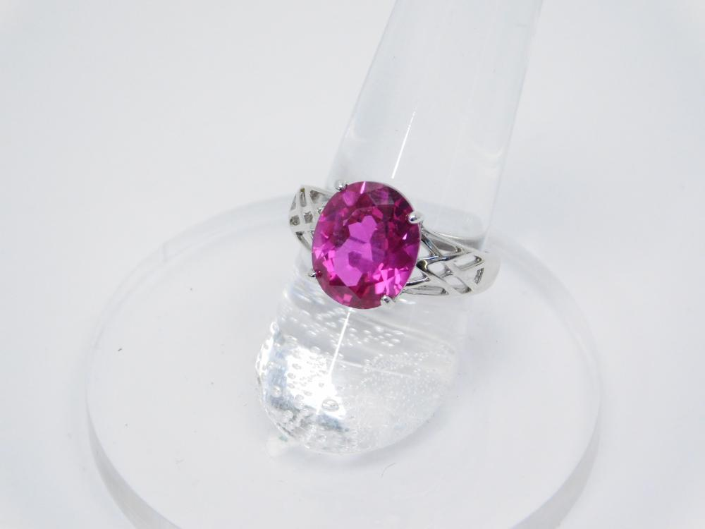 Sterling Silver Synthetic Lab Created Ruby Solitaire Fashion Cocktail Ring 3.4G Sz7