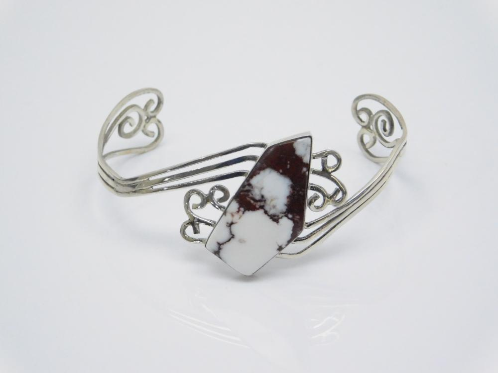Vintage Native American Sterling Silver Wild Horse Jasper Cuff Bracelet 11.8G