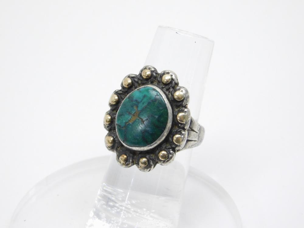 Southwestern Sterling Silver Two Color Turquoise Ring 9G Sz7