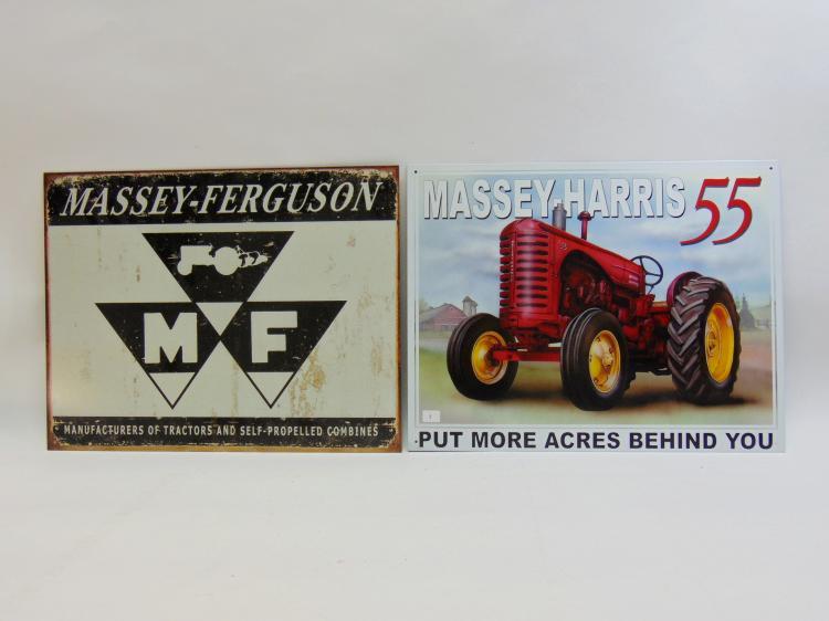 Massey-Harris & Ferguson Tractor Tin Sign Lot Of 2