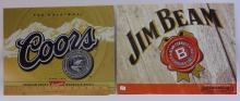Lot 2: Jim Beam & Coors Advertisement Tin Sign Lot Of 2