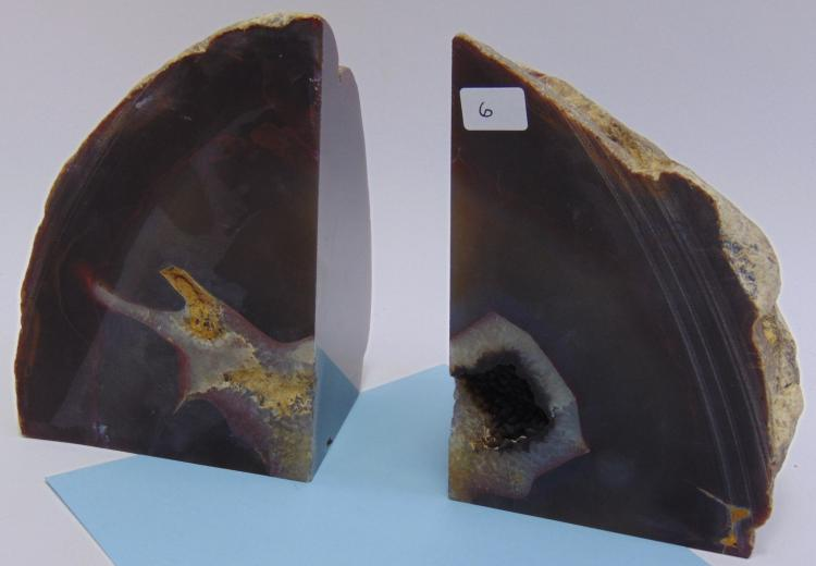 Natural Brazilian Agate Geode Book Ends