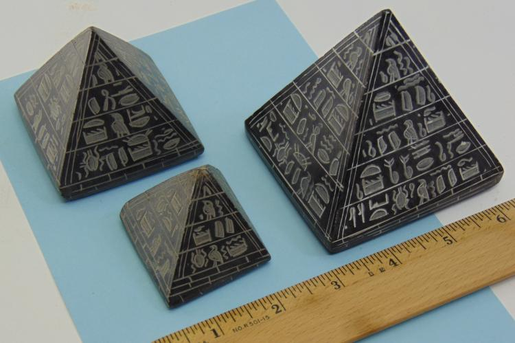 Lot 7: Natural Black Stone Etched Egyptian Pyramid Lot