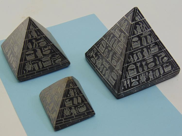 Natural Black Stone Etched Egyptian Pyramid Lot