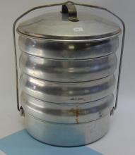 Lot 10: Vintage Aluminum Tiffin Style 5 Tier Food Carrier