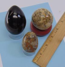 Lot 11: Fossilized Ocean Bottom Jasper Sphere & Egg Lot