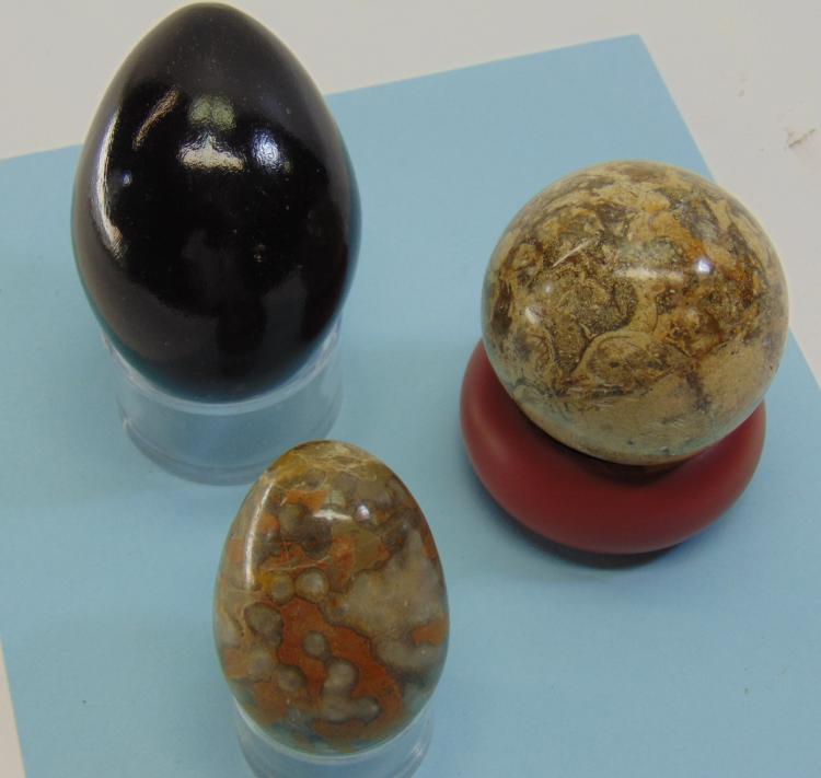 Fossilized Ocean Bottom Jasper Sphere & Egg Lot