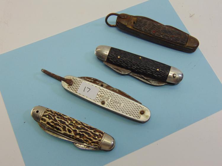Vintage Sabre & Imperial Pocket Knife Lot Of 4