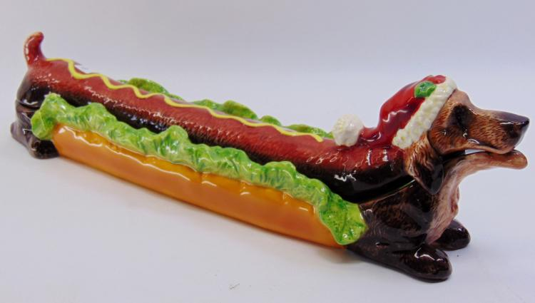 Ceramic Dachshund Hot Dog Relish Tray