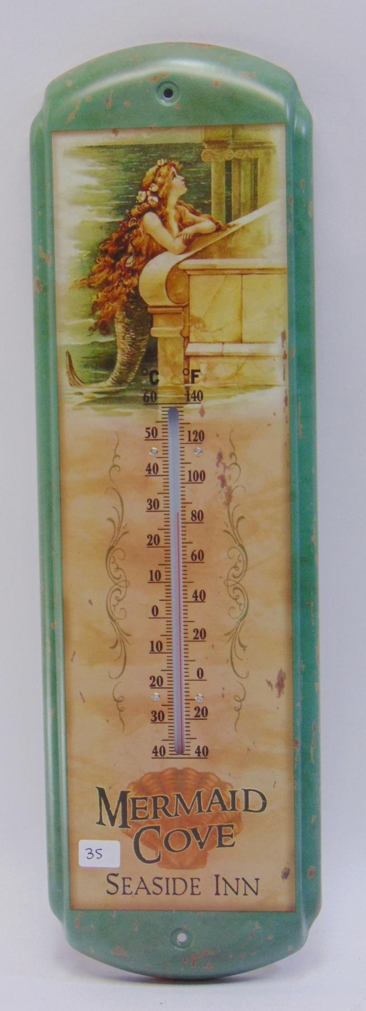 Lot 35: Mermaid Cove Seaside Inn Tin Thermometer