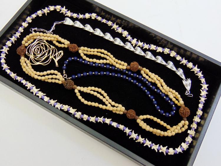 Snake Vertebrae & Natural Wood Bead Necklace Lot