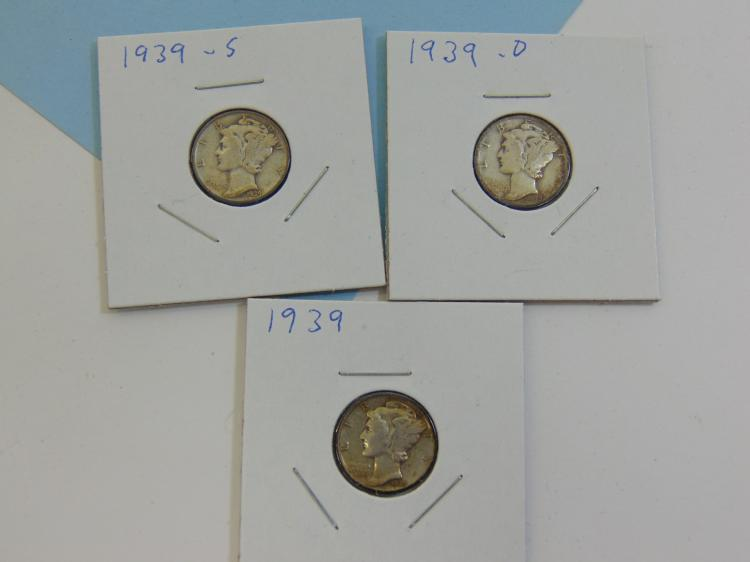 1939 P S & D Mercury Dime Silver US Coin Lot Of 3