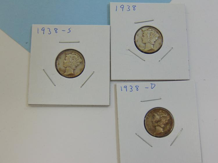Lot 58: 1938 PS & D Mercury Dime Silver Coin Lot Of 3